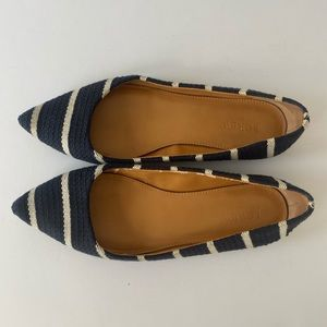 J. Crew Blue & White Striped Pointed Flats 7 1/2